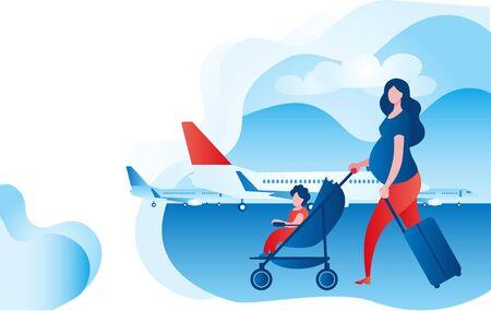 Schwangere Frau mit Kind und Koffern am Flughafen. Vektorgrafik zum Thema Reisen mit dem Baby und während der Schwangerschaft.