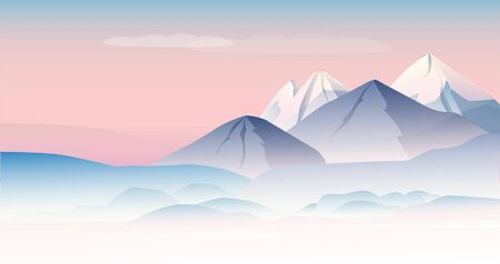 Beautiful mountain landscape in delicate shades. A template of horizontal banner. Vector illustration.