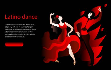 Beautiful couple dancing the Spanish dance Paso Doble. Banner or invitation template. Banque d'images - 142015605
