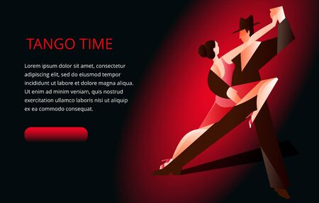 Beautiful couple dancing tango. A woman in a red dress and a man in a black suit and hat. Banner or invitation card template. Banque d'images - 142015606