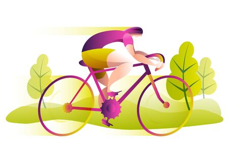A man on a Bicycle rides at high speed. Spring landscape. Vector illustration in bright colors. Иллюстрация