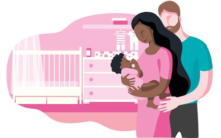 A young interracial family with a newborn baby in their arms on the background of the childrens room. Vector illustration.