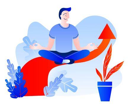 A man meditates sitting on the sales arrow. Vector illustration on the theme of Finance. Ilustrace