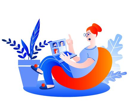A woman with a laptop at home holds a conference online. Vector illustration in red and blue colors on the theme of working at home. Иллюстрация