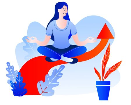 A w0man meditates sitting on the sales arrow. Vector illustration on the theme of Finance. Иллюстрация