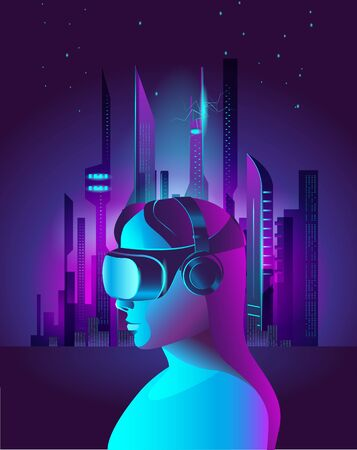 A girl in virtual reality glasses against the background of a fantastic city. Template poster in the style of cyberpunk.