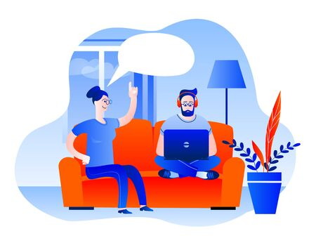 A man and a woman are sitting on the sofa at home. The man is working on a laptop. Vector illustration in red and blue colors on the theme of working as a freelancer.