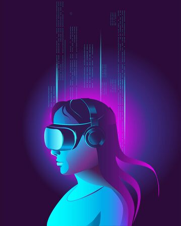 A girl in virtual reality glasses studies data arrays. Vector illustration in neon colors. Poster template in the cyberpunk style. Иллюстрация