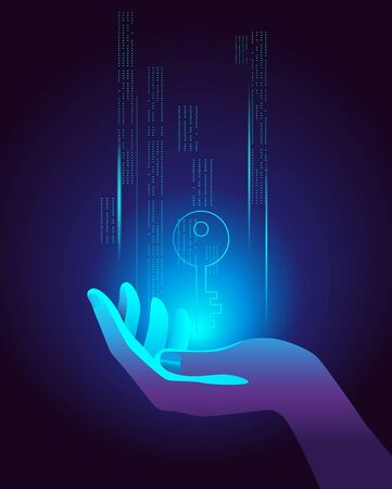The hand holds the virtual key. Vector illustration on the topic of cybersecurity. Иллюстрация