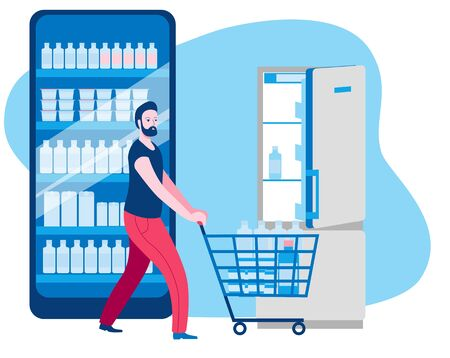 A man with a cart bought food in an online store and goes to the refrigerator. Vector illustration on the topic of online trading.