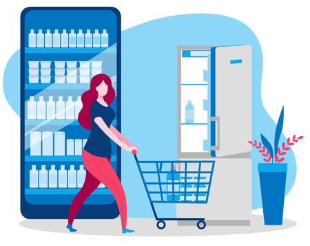 A woman with a cart bought food in an online store and goes to the refrigerator. Vector illustration on the topic of online trading.