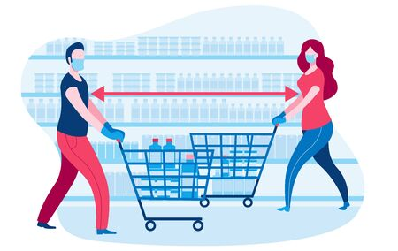 People in the supermarket are shopping during the epidemic. People in medical masks and gloves. Vector illustration in flat style in red and blue colors. Иллюстрация