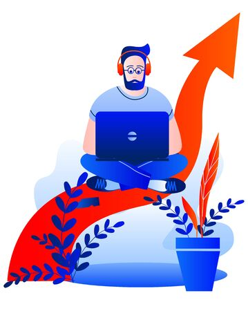 A man with a laptop is on the arrow graph. Vector illustration on the theme of Finance. Иллюстрация