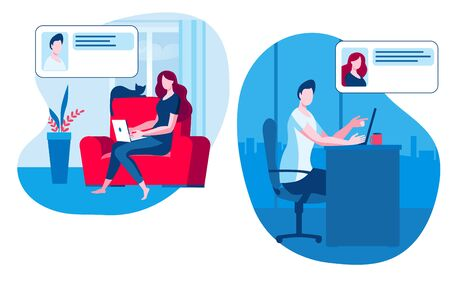 A man and a girl communicate online. A girl with a laptop is sitting at home, a man is sitting in the office. Vector illustration on the topic of online communication.