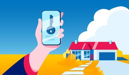 Hand with a smartphone that shows the key. Autumn landscape with a house. Vector illustration on the theme of a smart home and a virtual key. Иллюстрация
