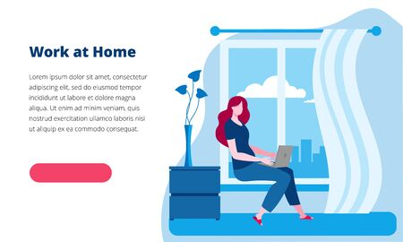 Woman working at home at the computer. Vector illustration in red and blue colors on the theme of working as a freelancer. Template for a horizontal banner. Иллюстрация