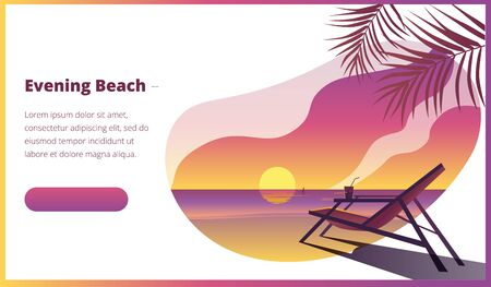 Tropical landscape with a sunset on the sea and a sun chair. Template for a horizontal banner. Иллюстрация