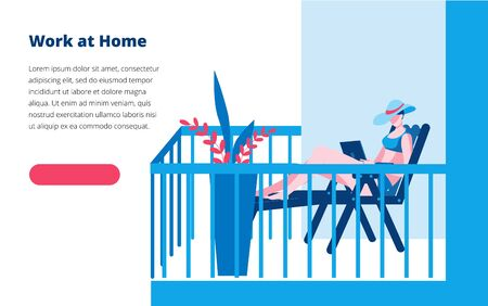 The girl is working on a laptop on a sunbed on the balcony. Vector illustration on the theme of working at home. Banner template. Иллюстрация