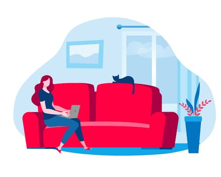 Woman working at home at the computer. Vector illustration in red and blue colors on the theme of working as a freelancer. Иллюстрация