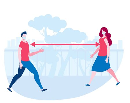 A man and a woman walk in the Park keeping a social distance. Masked people during the pandemic. Vector illustration in flat style.