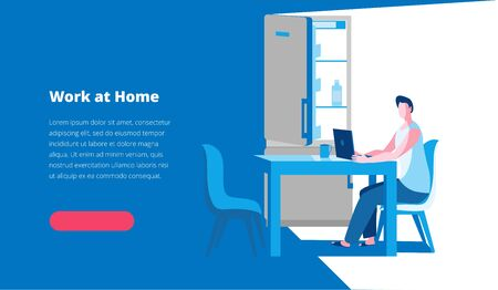 A man works on a laptop at home in the kitchen near the refrigerator. Vector illustration in a flat style on the theme of work at home. Template for a horizontal banner.