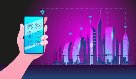 Hand with the phone on the background of the night city. Concept of the smart city illustration. Vector illustration in cyberpunk style.