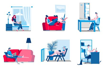 A set of illustrations with people working from home in various interiors. Illustrations in a flat style on the theme of freelancing. Иллюстрация