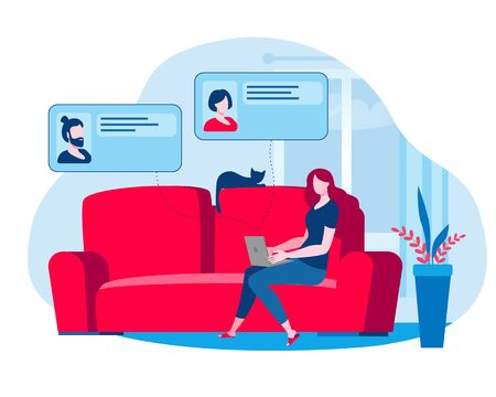 The girl works at home and holds a meeting online. Vector illustration on the topic of online communication.