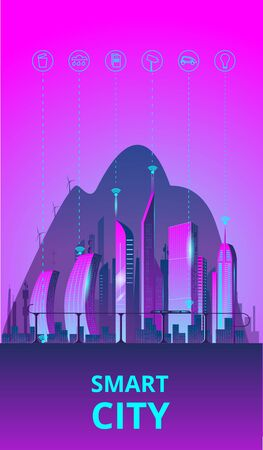 Fantastic smart city in the style of cyberpunk. Vector illustration in retro style in neon colors. Night city of the future. Banner templat. Иллюстрация
