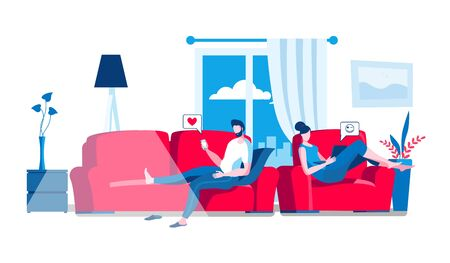 A man with a phone is lying on the sofa, and a woman with a laptop is sitting in a chair. Vector illustration on the topic of communication and social networks.