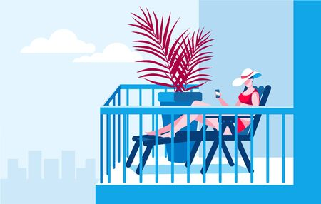 A girl with a phone is sunbathing on the balcony. Vector illustration on the theme of working at home.