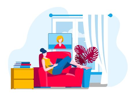 A girl in a chair with a laptop watching a webinar. Vector illustration in a flat style on the topic of online learning. Иллюстрация