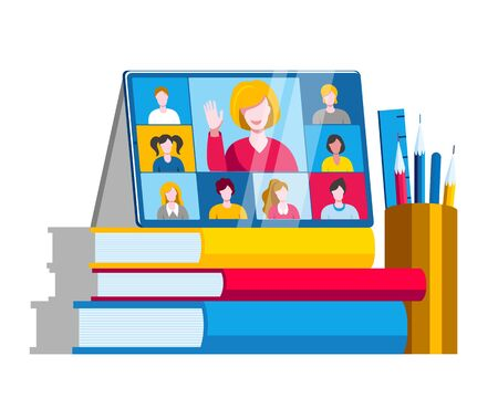 A tablet with an online chat is on top of a stack of books. Vector illustration on the topic of e-education.