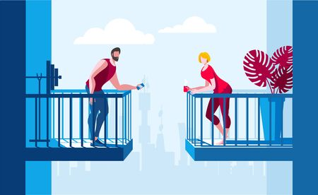 A young man and a girl are talking from different balconies. Vector illustration on the topic of Dating and meetings.