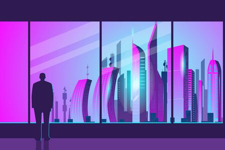 A mans silhouette stands at the glass in the office and admires the dawn in the city. City of the future skyscrapers at dawn. Vector horizontal illustration in neon colors.