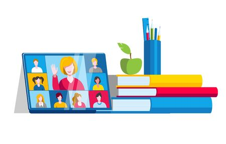 A laptop with an online chat with the class is next to a stack of books. Vector illustration on the topic of e-education.