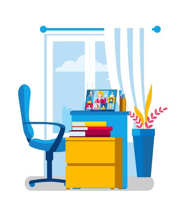 A table with a laptop and textbooks. Laptop with an online conference with a teacher. Vector illustration on the topic of e-learning.