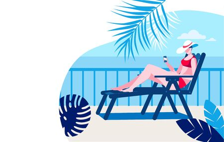 A girl in a bathing suit and hat with a phone in her hand is sunbathing on a terrace by the sea. Vector illustration in flat style. Template for a horizontal banner.