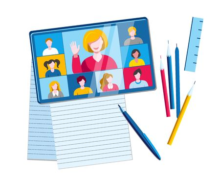 The tablet with online chat is on the table among pencils and papers. Vector illustration on the topic of e-education.