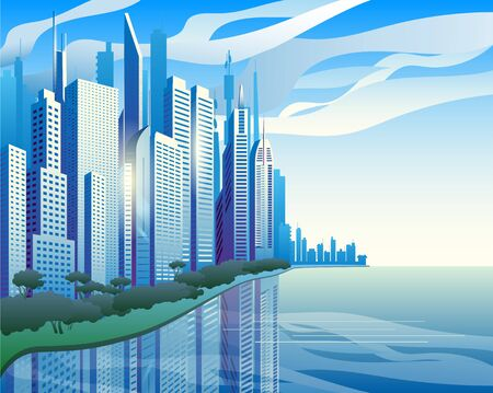 A modern city on the banks of the river. Blue skyscrapers against the clouds. Vector illustration. Иллюстрация