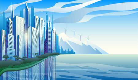 City of the future skyscrapers at dawn. City on the background of mountains withwind generators. Vector horizontal illustration. Иллюстрация