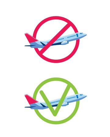 A plane with a red circle and a green one. Illustration on the subject of canceled and completed flights. Icon set.