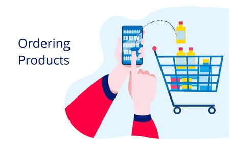 Concept illustration about purchasing products using a mobile phone app. Template for a horizontal banner.