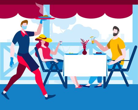 A woman and a man sit on a summer terrace in a cafe and are served by a waiter in a mask and gloves. Vector illustration in flat style on the theme of catering during the coronovirus epidemic.