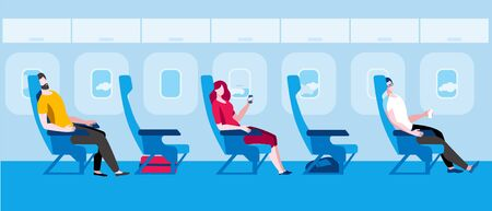 People sit on the plane. Vector illustration in flat style. Traveling by plane during a pandemic.