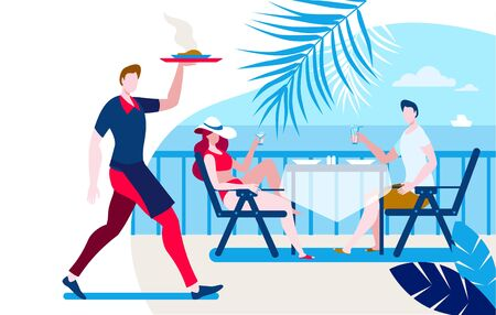 A girl and a young man are sitting at a table in a cafe on the beach. Template for a horizontal banner. Illustration on the theme of summer holidays.