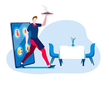 A waiter with a hot dish comes out of the smartphone. Vector illustration in a flat style on the theme of ordering food using a mobile app.