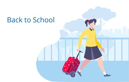 A girl with a briefcase goes to school. Template for a horizontal banner.