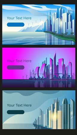 A set of horizontal banners with the image of a modern city at different times of the day. Vector illustrations on the theme of urbanism.