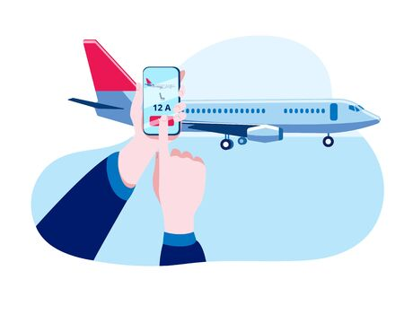 Hands with a smartphone make electronic check-in for the flight. Concept of a vector illustration on the topic of online registration for a plane.